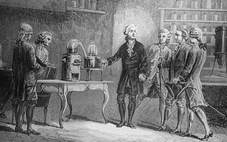 Original caption: Antoine Lavoisier, (1743-1794), is shown demonstrating the decomposition of water. --- Image by © Bettmann/CORBIS